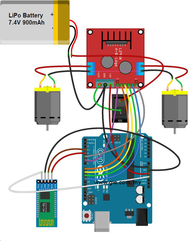 GI Electronic 2WD Smart Robot Car Wiring